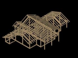 Post&beam house_3D_wooden frame