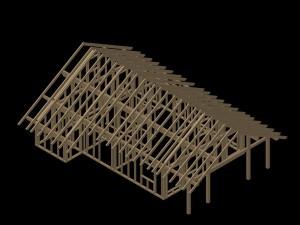 Pre-cut timberframe house_3D